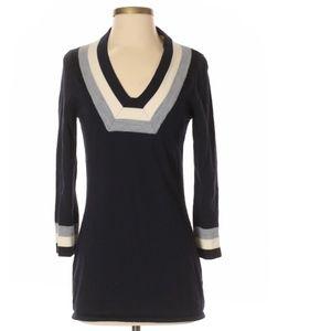 Tory Burch Navy Blue Striped Merino Wool Sweater